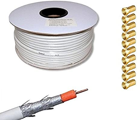 netshop_25 - Cable coaxial (largo: 100 m, 135 dB, incluye 10 ...