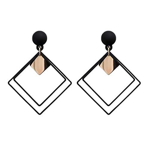 2 Inch Metal Posts - students Korean temperament wild metal texture simple geometric square earrings