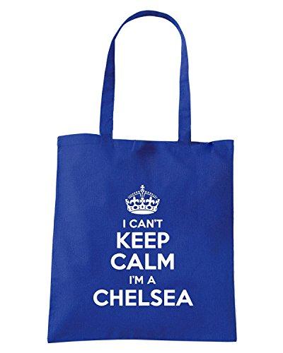 T-Shirtshock - Borsa Shopping WC0397 I can t keep calm, Im a CHELSEA Blu Royal