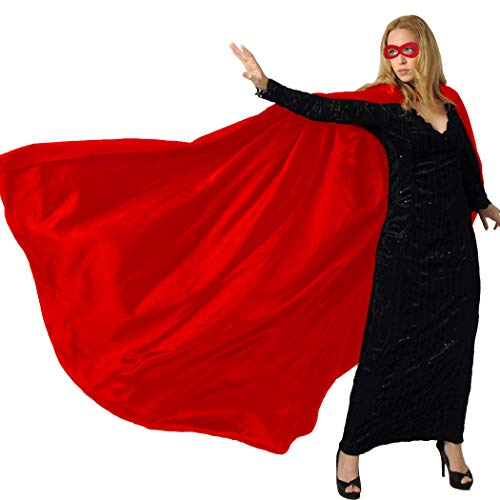 Men & Women's Superhero-Cape or Cloak with Mask for Adults Party Dress up Costumes (Red) (The Man In The Iron Mask Flash)