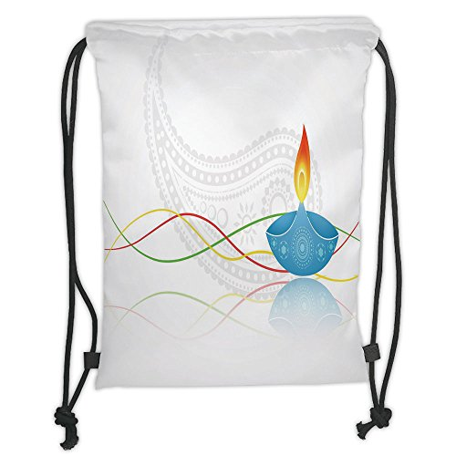 Custom Printed Drawstring Sack Backpacks Bags,Diwali,Tribal Art Religious Festive Fire Candle Image with Modern Paisley Backdrop Print,Multicolor Soft Satin,5 Liter Capacity,Adjustable String Closure, by iPrint