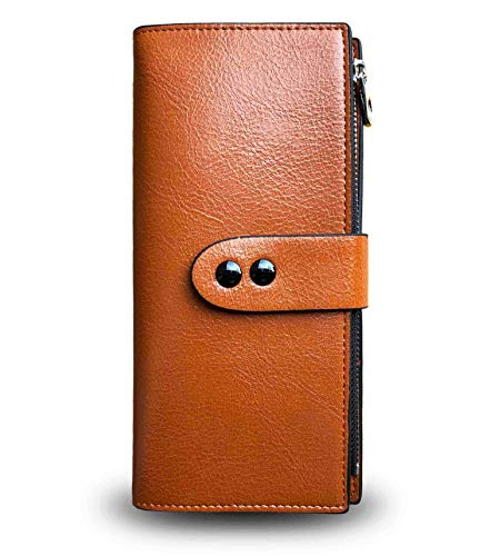 Ladies Slim Bifold Leather Wallet Rfid Wallets for Women Card Coin Zip Clutch,Compact Thin Long - Wallet Clutch Compact