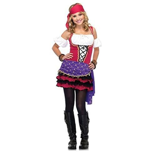[Fancy Crystal Ball Gypsy Fortune Teller Junior Teen Tween Girls Halloween Costume] (Little Girl Gypsy Costumes)