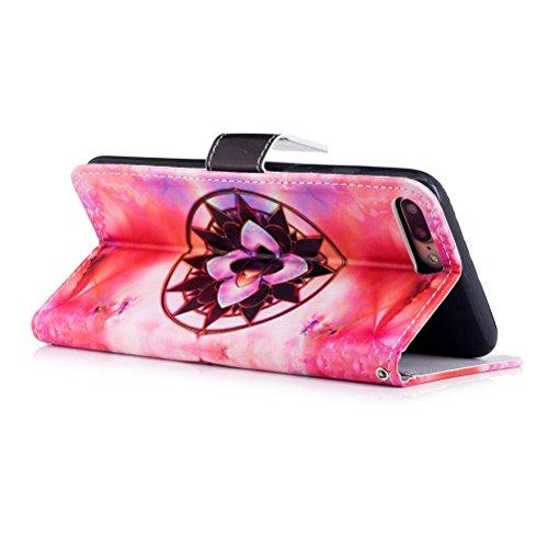 Funda iPhone 7 plus,SainCat Funda de cuero sintético tipo billetera con correa de cordón de Suave PU Carcasa Con Tapa y Cartera,Ranuras para Tarjetas y Billetera Funda de Flip Ranuras Tarjeta Slots Fu Mandala