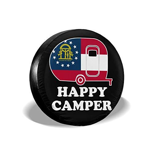 (XUQI-GO Happy Camper Georgia State Flag Spare Wheel Tire Cover Waterproof for Trailer RV SUV Truck Camper Travel Trailer Accessories(14,15,16,17 Inch))