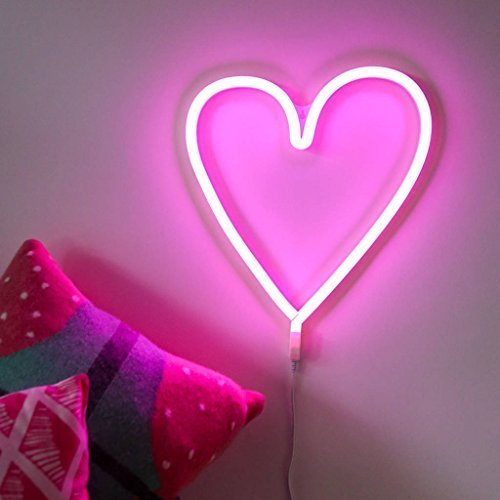 usb battery operated pink love heart led neon light led wall light
