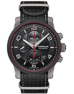 Montblanc Timewalker Urban Speed Chronograph Automatic Black Dial Black Leather Mens Watch 113827