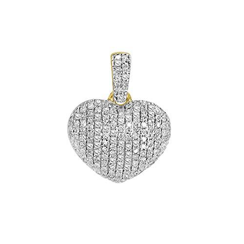 Women's 0.25 Ct Round Cut Natural Diamond Puffed Heart Pendant Necklace 14K Yellow Gold