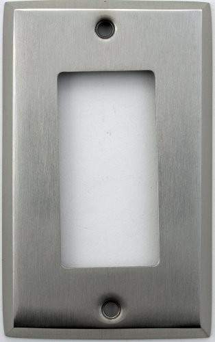 Classic Accents Stamped Steel Satin Nickel One Gang GFI/Rocker Opening Wall Plate Duplex Electrical Accent Wall Plate