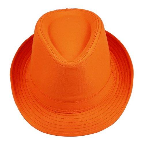 Smile YKK Men's Messer Neon Cotton Bootlegger Gangster Fedora Hat Orange