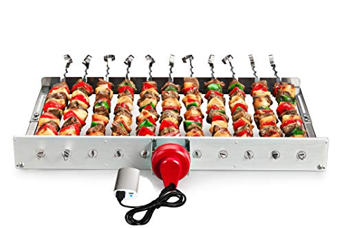 (HAOONE Portable Battery Operated Automatic BBQ Grill Rotisserie with 11 Skewers )