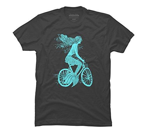 Mermaid on a Bike Men's 3X-Large Charcoal Graphic T Shirt...