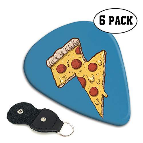 (MKJIH Cool Thunder Cheesy Pizza-6 Pack Picks Sampler Abstract 351 Shape Guitar Picks for Guitar Bass)