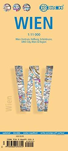 Wien: 1:11 000. Einzelkarten: Wien Zentrum 1:11 000, UNO-City 1:11 000, Schönbrunn 1:11 000, Hofburg 1: 7 000, Wien & Region 1:100 000, Public Transport Vienna, Austria administrative (Borch Maps)