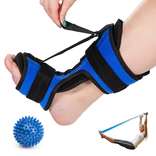 Plantar Fasciitis Night Splint, Sleep Support Foot Brace for Plantar Fasciitis Pain Relief, Adjustable Foot Orthotic Brace for Women and Men Fits Right or Left Foot with Exercise Band and Massage Ball