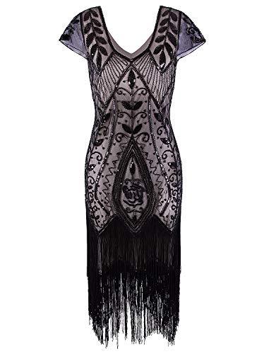 VIJIV Women's Short Flapper Dress 1920s Gatsby Vintage Plus Size V Neck Beaded Art Deco Tassel Roaring 20's Dresses with Sleeves Black ()