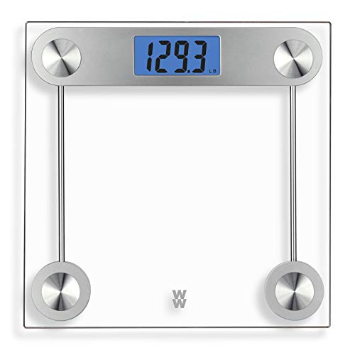Weight Watchers By Conair Digital Glass Bathroom Scale  400 Lb  Capacity  Elegant Gold Finish Bath Scale