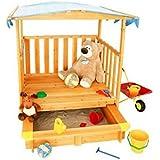 Sandkasten mit Spielhaus Holz Spiel-Veranda fahrbar UV-Sonnenschutz-Dach