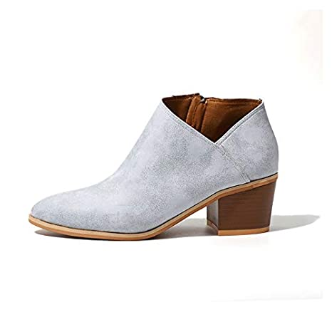 57e8602afe13 Amazon.com   JingZhou Fashion High Heels Clogs Women Ankle Boots Plus Size  Ladies Pointed Toe Zipper Casual Shoes Female Thick Heel Footwear   Garden    ...