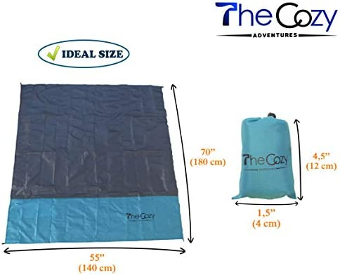 Soft /& Quick Drying with 4 Portable Tent Pegs and a Unique Gift Box Best Mat for Travel /& Festivals Sand Free Compact Beach Blanket Pocket Picnic Sheet for Outdoor Multiple Use