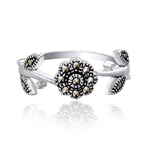 Lesa Michele Genuine Marcasite Flower Eternity Ring in Sterling Silver