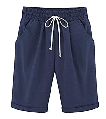 Womens Large Size Summer Wide Leg Solid Loose Crapi Pants Shorts 1 XL