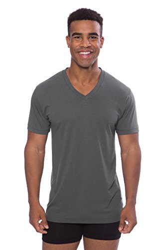 Men's V-Neck Undershirt Single Pack - Lounge Tee in Bamboo Viscose (Charcoal, XX-Large) Best Leisurewear for Him - Dress Charcoal Mens