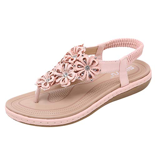 - OrchidAmor Spring Summer Women Ladies Fashion Crystal Floral Casual Flat Roma Shoes Sandals Pink