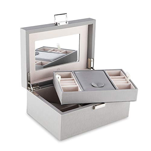 Vlando High Capacity Mirrored Jewelry Box Organizer with Handle, Soft PU Leather Wooden Decorative Jewelry Storage Case for Bracelets, Earrings, Rings, Necklaces, Brooches Grey (Small Mirrored Box Jewelry)
