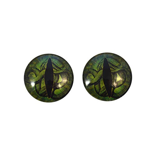 Dark Green Medusa Snake Glass Eyes Scary Halloween Art Dolls Taxidermy Sculptures or Jewelry Making Cabochons Crafts Matching Set of 2 (12mm)]()