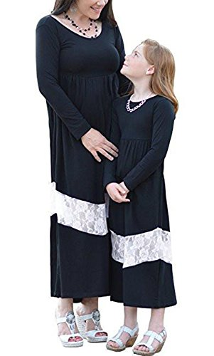 Qin.Orianna Mommy and Me Matching Outfits,Long Sleeve Lace Stitching Maxi Dresses for Family Look (Mom 8, Black) by Qin.Orianna