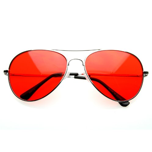 MLC EYEWEAR Retro Classic Aviator Ultra Red Tint - Sunglasses Hangover