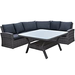 """'Garden Impressions Lounge/Dinner Set, (Izquierda) de 5piezas ratán Dining Grupo """"Ciudad del Cabo–de alta calidad ESS Combinación plástico trenzado, Organic gris, 230x 230x 91cm, 06470so"""