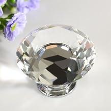 Revesun 4PCS/LOT Crystal Glass Door Knobs Cabinet Pulls Cupboard Handles Drawer Knobs Wardrobe Home Hardware Diamond Shaped Clear Diameter 40mm