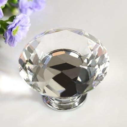 Kleiderschrank Revesun T/ürkn/öpfe aus klarem Kristallglas in Diamantform Schrankgriffe Durchmesser 40 mm Schubladengriffe Vitrinengriffe 10 St/ück Kommodengriffe Haushaltswaren
