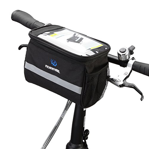 Roswheel Cycling Bike Bicycle Handlebar Zipped Bag Front Basket with Clear Map Pocket