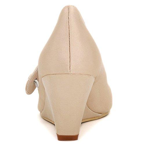 Loslandifen Mujeres Cuñas De Punta Redonda Bombas De Tacón Rhinestone Satén Vestido De Novia Zapatos Champagne-b