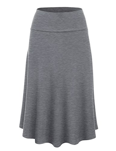 Lock and Love WB1105 Womens Lightweight Fold Over Flared Midi Skirt L Heather_Dark_Grey