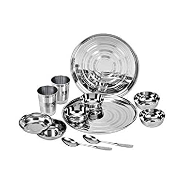 ROYAL SAPPHIRE Stainless Steel Dinnerware Set 12 Pieces (Glass, Curry Bowl, Desert Bowl, Spoon,Quarter Plate And Full Plate) Silver