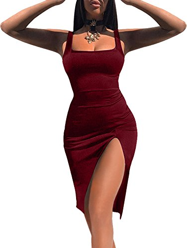 TOB Women's Sexy Bodycon Sleeveless Basic Tank Knee Length Club Dress Side Slit Wine Red