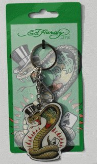 Don Ed Hardy Gorilla & Girl Polydomed Chrome Finish Keychain ()