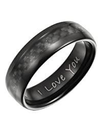 Willis Judd New Mens Band Ring engraved 'I Love You' crafted in Pure Tungsten with Black Carbon Fiber, packed in a Free Gift Box.