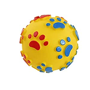Foodie Puppies Plastic Squeaky Vinyl Dog Toy Ball with Colourful Paw Pattern (Colour May Vary)