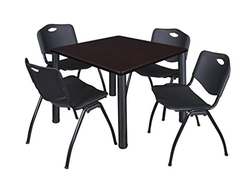 "Kee 42"" Square Breakroom Table- Mocha Walnut/ Black & 4 'M' Stack Chairs- Black"