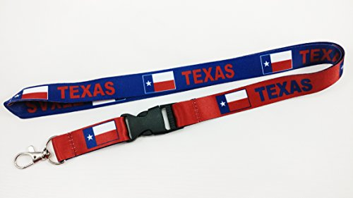 Texas Flag Reversible Lanyard Keychain with Quick Release Snap Buckle and Metal Clasp - ID Lanyard for Keys, Badges, USB, Whistle - ID Holder Keychain for Women, Men, Kids (Blue or Red) 1-Pack