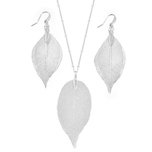 Silver-Tone Natural Leaf Pendant Necklace Earring Set(Silver)