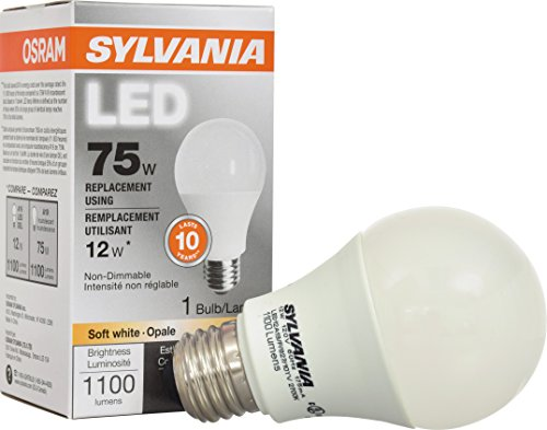 SYLVANIA 79291 75W Equivalent Contractor Series A19 Soft Non-Dimmable LED Lamp, Medium Base, 2700K CCT, White, 1-Pack - Non Flip Base