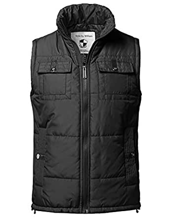 Style by William Solid Front Zip Up Outdoor Padded Vest Outwear Jacket Black S