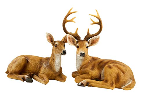 JHVYF Small Doe & Buck Statuary 12 Point Resin Deer Statue Garden Lying Sculptures Cabin Animal Figurines Lodge Art Décor for Indoor Outdoor Home Or Office