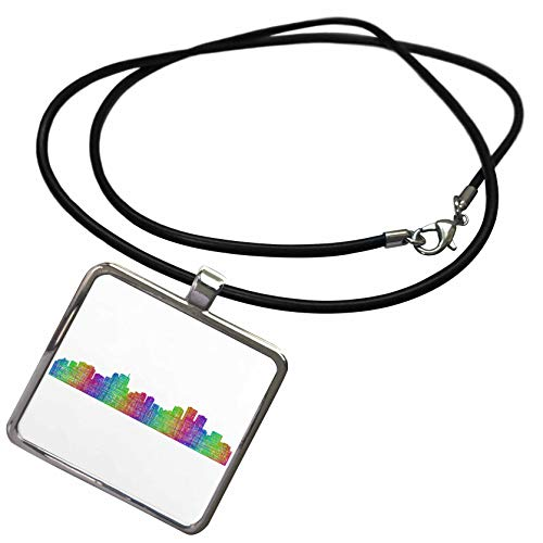 3dRose David Zydd - City Skylines - Anchorage City Skyline - multicolor line art - Necklace With Rectangle Pendant (ncl_287194_1) ()
